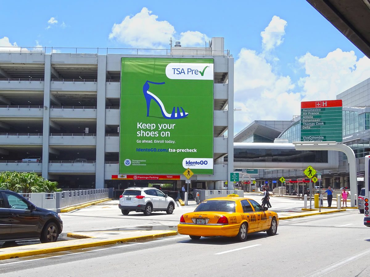 Keep Your Shoes On Fort Lauderdale Airport Banner for TSAPre-check using a high-heeled sandal