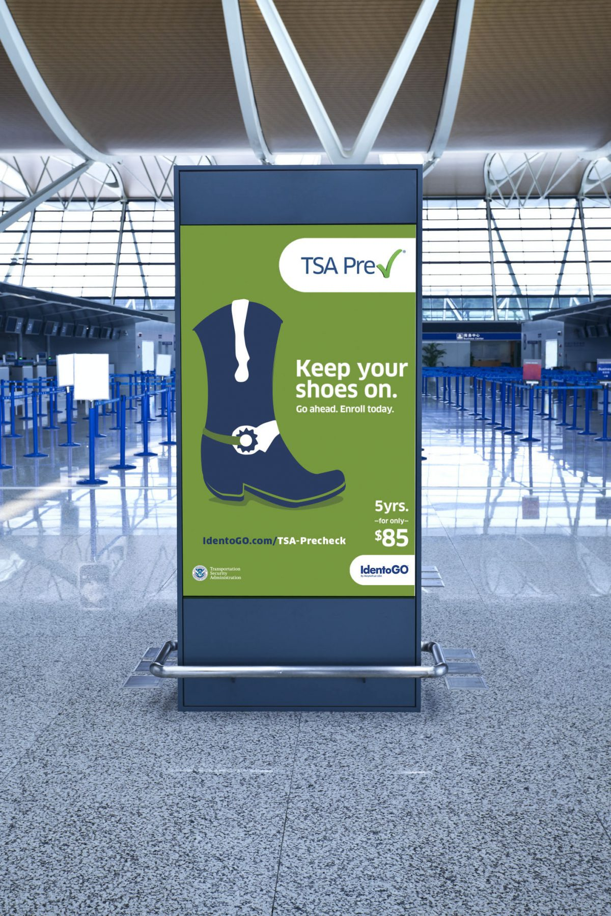 Keep Your Shoes On Texas Airport Banner for TSAPre-check using a cowboy boot